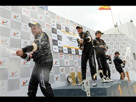 Podium champagne shower
