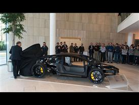 Lamborghini Aventador LP 700-4 carbon fiber monocoque on display at the European Patent Office in Munich