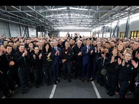 R. Stadler, S. Winkelmann, S. Domenicali with the Lamborghini employees