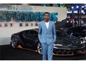 Jerrod Carmichael and the Lamborghini Centenario at the premiere of Transformers, The Last Knight