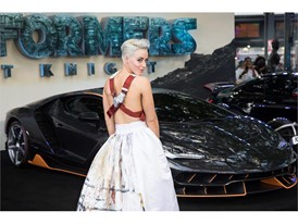 Hatty Keane and the Lamborghini Centenario at the premiere of Transformers, The Last Knight