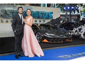 Sam Claflin, Laura Haddock and the Lamborghini Centenario at the premiere of Transformers, The Last Knight