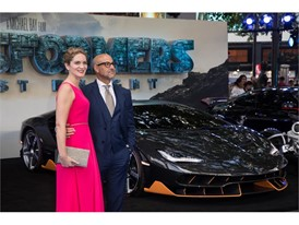 Felicity Blunt, Stanley Tucci and the Lamborghini Centenario at the premiere of Transformers, The Last Knight
