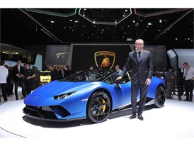 Stefano Domenicali and The Huracan Performante Spyder 2