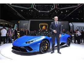 Stefano Domenicali and The Huracan Performante Spyder 1