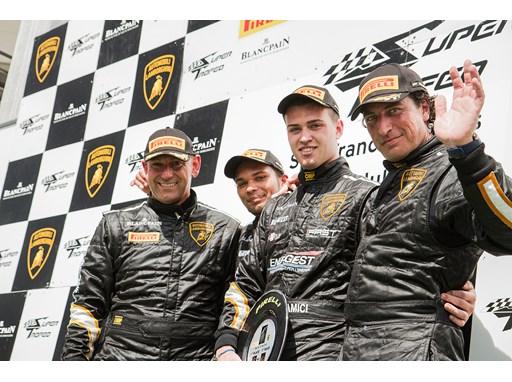LBSTF Spa podium, L to R De Nora/Zaugg (P2), Amici (P1), Geraci (P3)