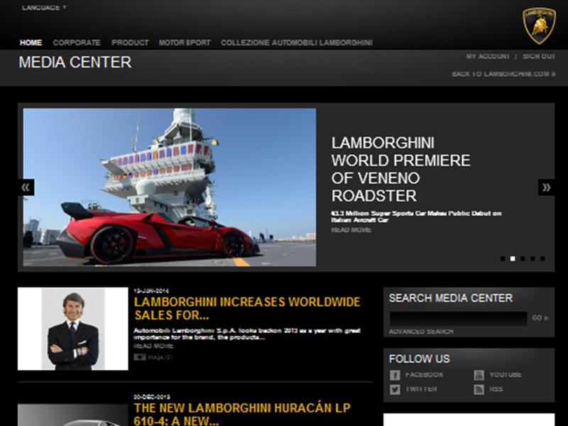 Lamborghini Media Site