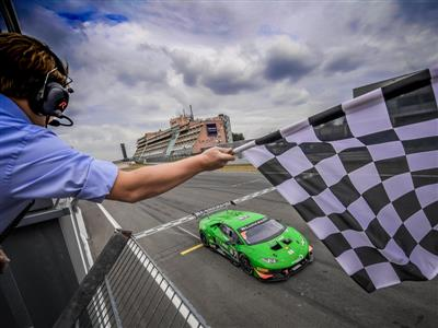 First absolute victory for the Latvian Harald Schlegelmilch in Race 1 of the Lamborghini Blancpain Super Trofeo Europe at the Nürburgring