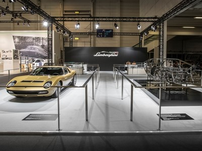 Lamborghini Polo Storico at 2017 Techno Classica, Essen: announcing Lamborghini and Design, Concorso d'Eleganza