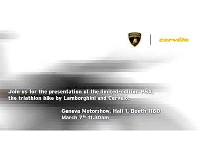 Geneva 2018 - Presentation of the Limited-Edition PX5, the triathlon bike by Lamborghini and Cervélo