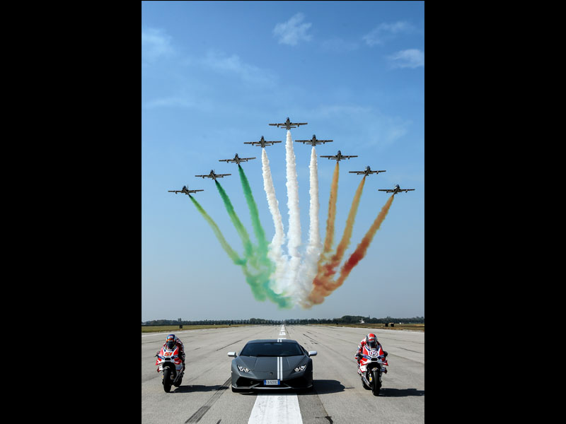 Frecce Tricolori and Lamborghini-Ducati