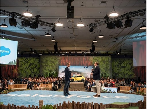 From the left Paolo Bergamo, svp, salesforce and F. Foschini, Chief Commercial Director Lamborghini at Dreamforce 2018