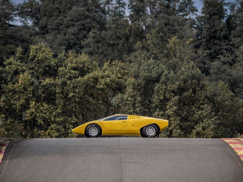 The 1971 Lamborghini Countach LP 500 reconstruction is officially unveiled at a special event