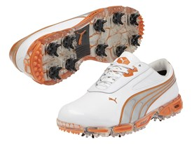 AMP CELL Fusion Rickie Fowler signature shoe in White/Vibrant Orange