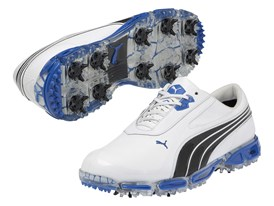 AMP CELL Fusion Rickie Fowler signature shoe in White/ Black/ Directoire Blue