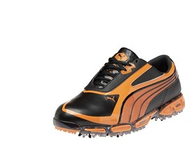 AMP CELL Fusion Rickie Fowler signature shoe in Black/ Vibrant Orange