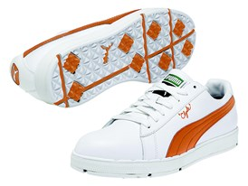 PUMA PG Clyde Shoe in White/ Vibrant Orange