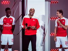 Danny Welbeck, Thierry Henry and Nacho Monreal at PUMA's 2015-16 Arsenal Home Kit launch