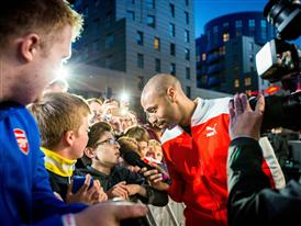 Thierry Henry interviews fans at PUMA's 2015-16 Arsenal Home Kit Launch
