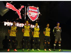 Cazorla, Özil, Wilshere, Flamini and Cech at the PUMA Arsenal Away Kit Launch