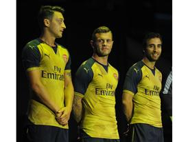 Özil, Wilshere and Flamini at the PUMA Arsenal Away Kit Launch