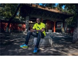 Usain Bolt relaxes outside Temple of Confucius ahead of World Championships in Beijing