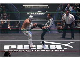 Lewis Hamilton takes on Mexican wrestling star Mistico at PUMA event in Mexico City