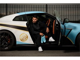 PUMA unveils Sergio Aguero's evoSPEED Derby Fever boots delivering them in style ahead of the Manchester Derby in Custom