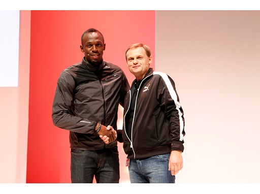 Usain Bolt with PUMA CEO Bjoern Gulden