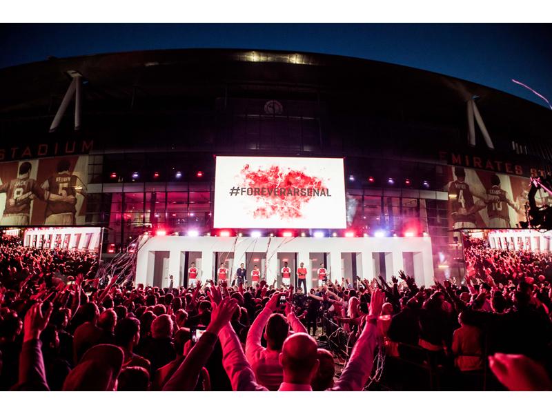 Arsenal first team players launch PUMA's 2015-16 Arsenal Home Kit at Emirates Stadium